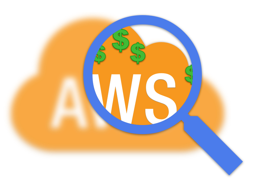 AWS cloud with a magnifying glass finding money